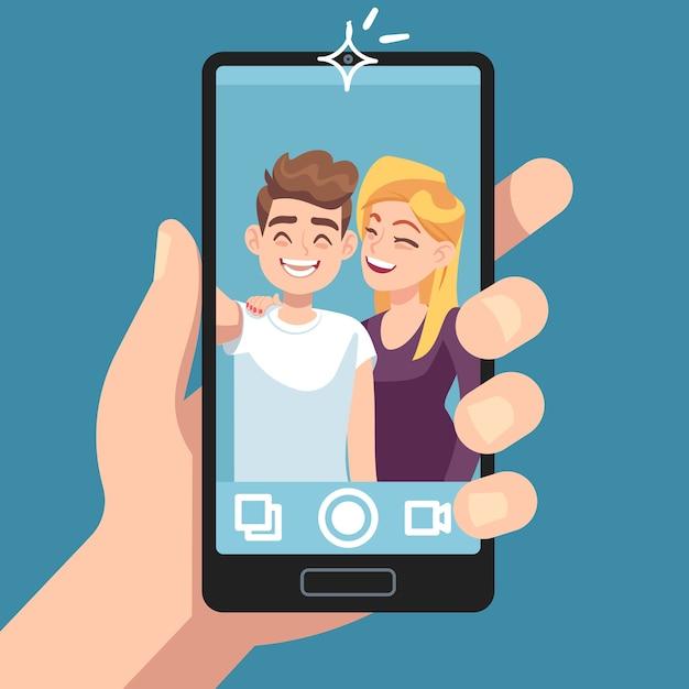 Selfie de casal. Vetor Premium