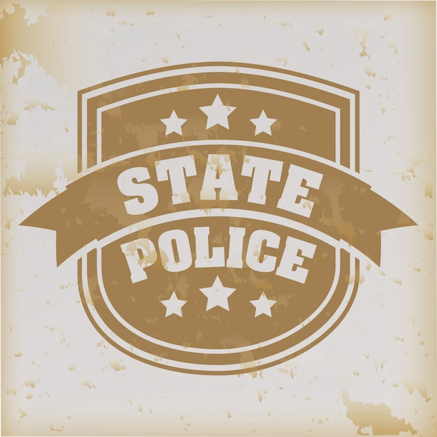 Selo da polícia estadual sobre fundo vintage Vetor Premium