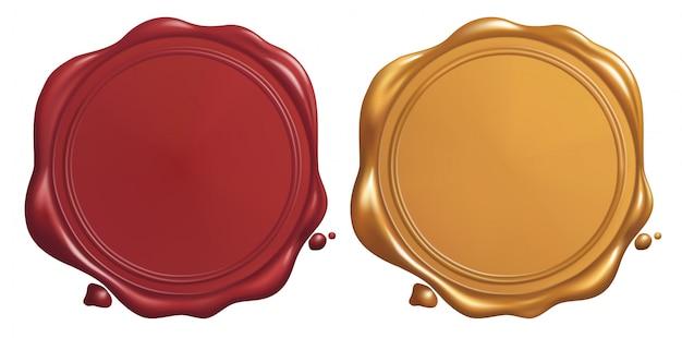 Selo de cera vermelho e dourado Vetor Premium