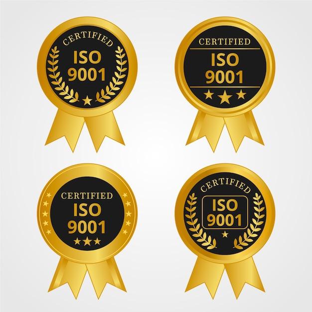 Selo de certificação iso dourado e preto Vetor grátis