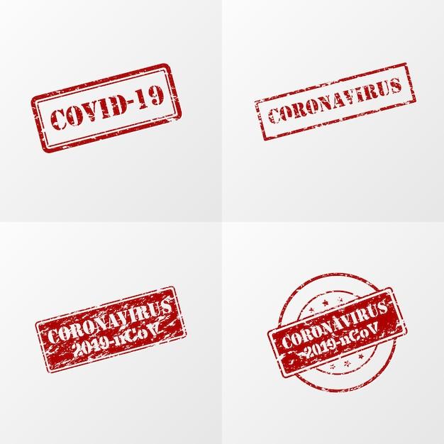 Selo de coronavírus na cor vermelha Vetor grátis