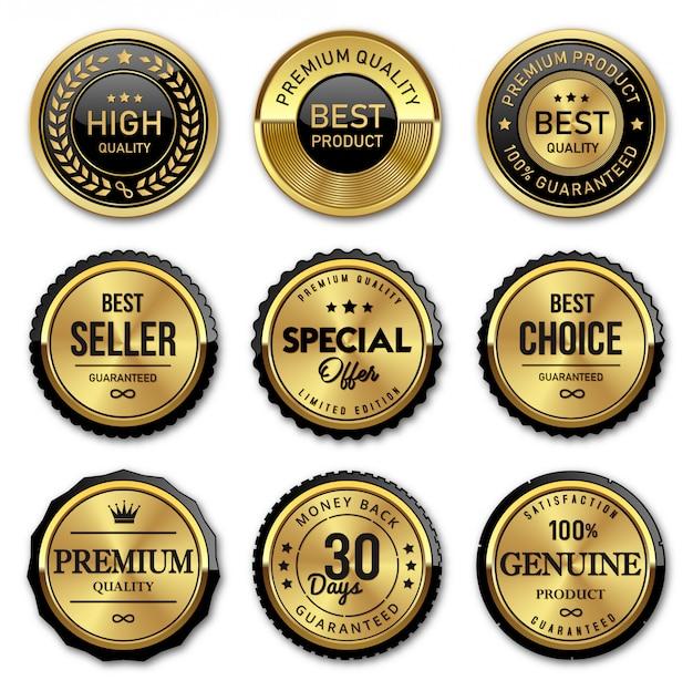 Selo de crachás de ouro e etiquetas de qualidade premium Vetor Premium