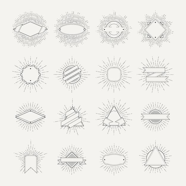 Selo e coleção de distintivos. diferentes formas e quadros de sunburst. banners monocromáticos vintage e ve Vetor Premium