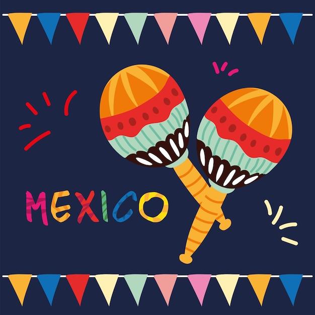 Selo mexicano com um par de maracas, design de instrumento musical Vetor Premium