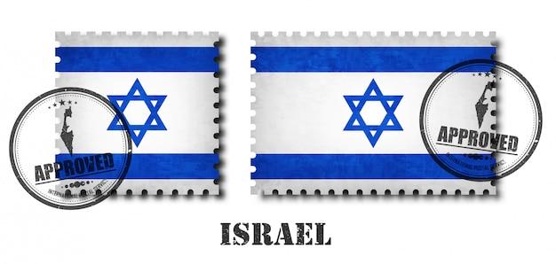 Selo postal de padrão de bandeira de israel Vetor Premium