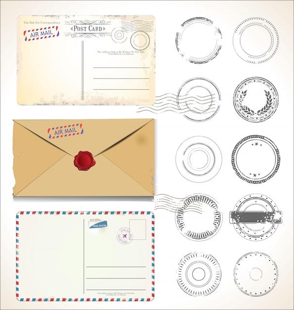 Selo postal e cartão postal Vetor Premium