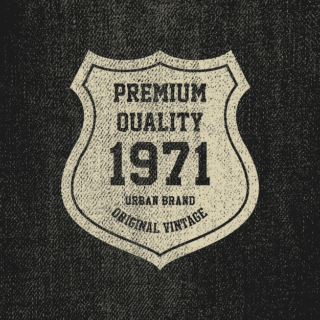 Selo vintage denim grunge, emblema de mercadorias. Vetor Premium