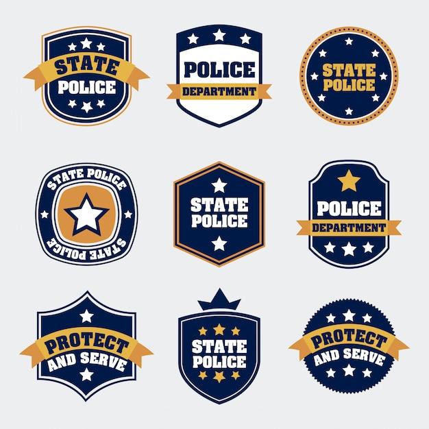 Selos da polícia sobre ilustração vetorial de fundo branco Vetor Premium