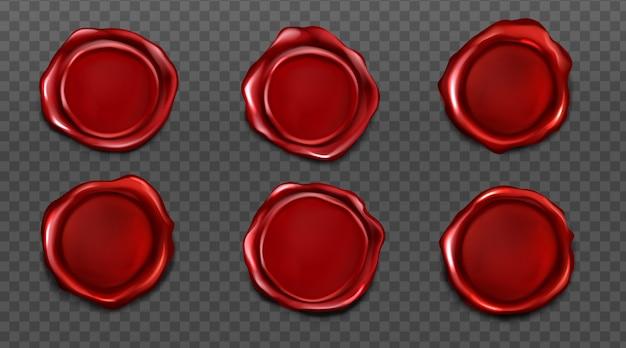 Selos de cera vermelha para carta e envelope Vetor grátis
