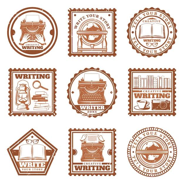 Selos de escrita vintage com digitação globo retrô telefone máquina de escrever livros lupa câmera de café óculos lâmpada a óleo isolada Vetor grátis