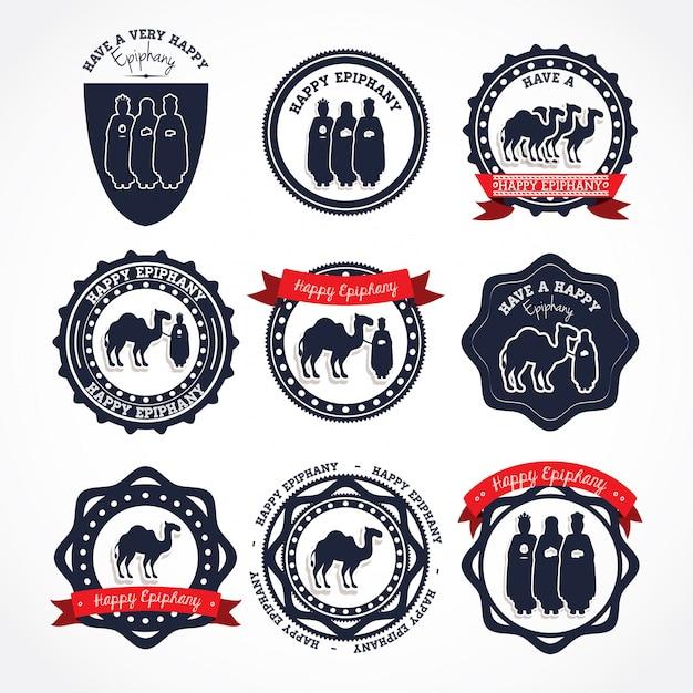 Selos de logotipo feliz epifania Vetor Premium
