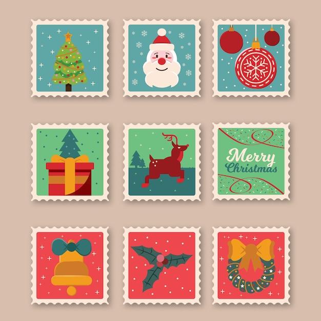 Selos postais de natal conjunto isolado design plano Vetor grátis