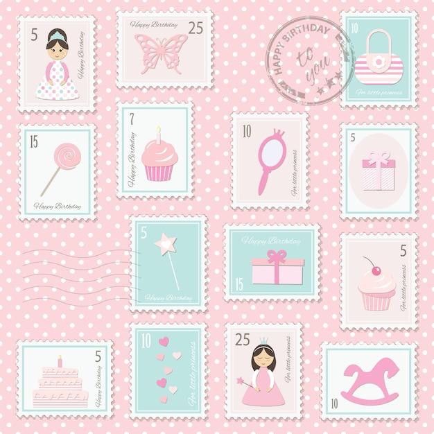 Selos postais do aniversário ajustados para meninas. Vetor Premium