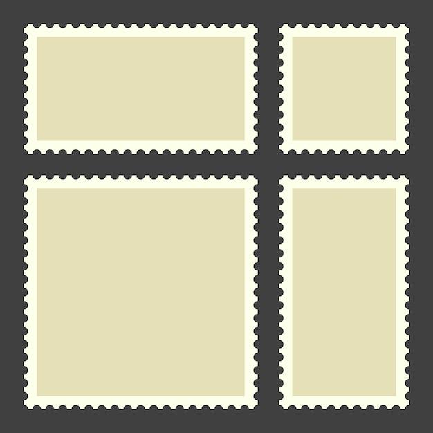Selos postais em branco Vetor Premium