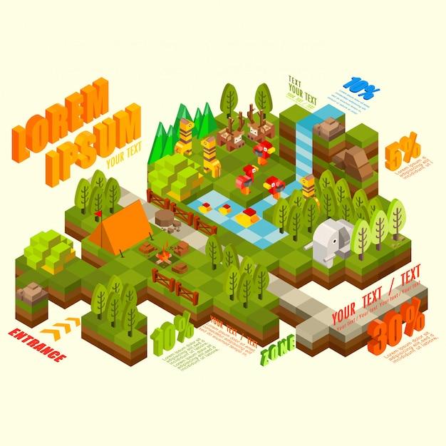 Selva 3d isométrica plana com animal selvagem, coleção de elementos de infográfico, ilustração Vetor Premium