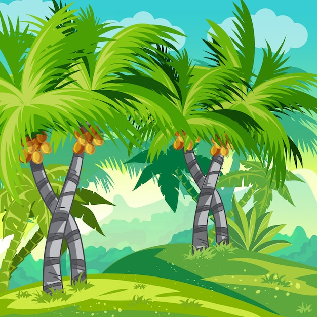 Selva de ilustração infantil com coqueiros. Vetor Premium