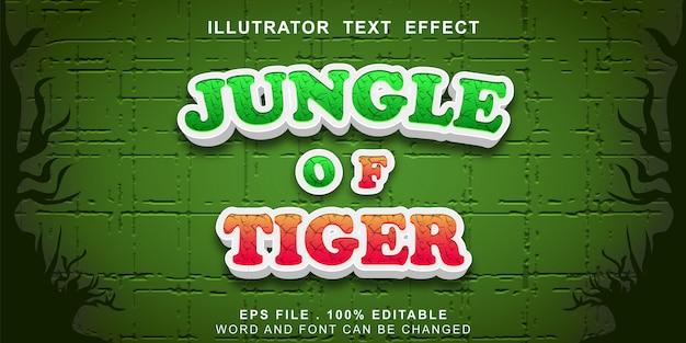 Selva do efeito de texto tigre editável Vetor Premium