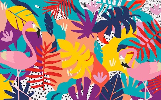 Selva tropical colorida deixa o fundo com flamingos Vetor Premium