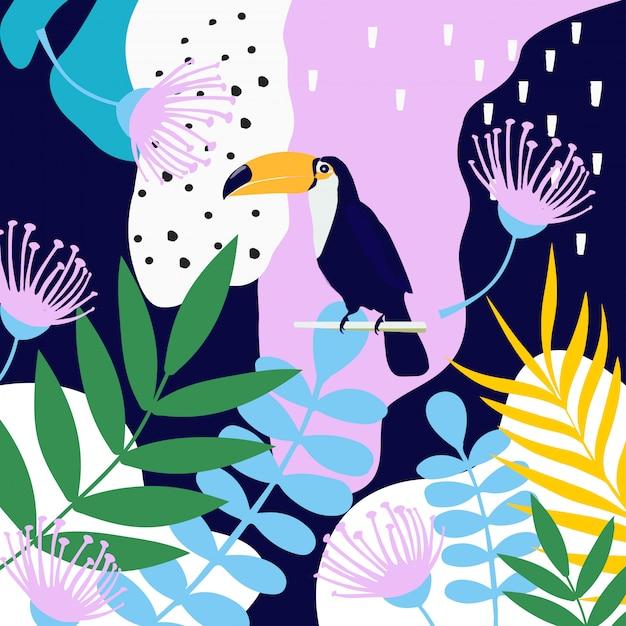 Selva tropical deixa o fundo com tucano Vetor Premium