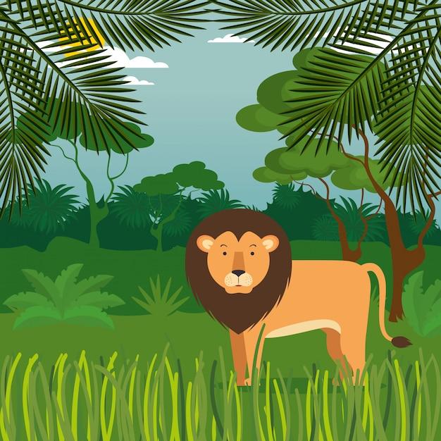 Selvagem na cena da selva Vetor grátis