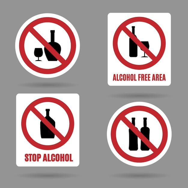Sem álcool e sinais de área livre de álcool. Vetor grátis