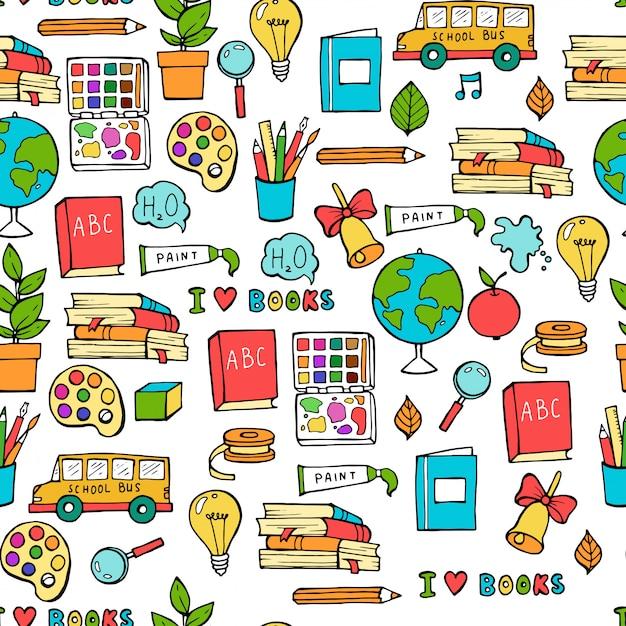 Sem costura colorida de volta ao padrão de escola com elementos estacionários e criativos de suprimentos. Vetor Premium