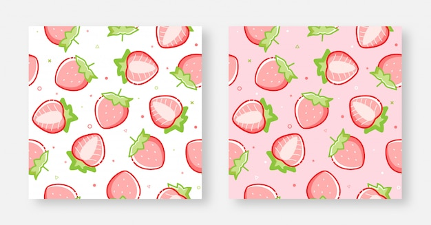 Sem costura linda morango fundo rosa e branco Vetor Premium