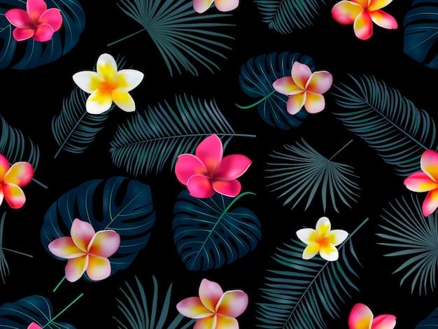 Sem costura mão desenhada padrão tropical com flores da orquídea e folhas de palmeira exótica em fundo escuro. Vetor Premium