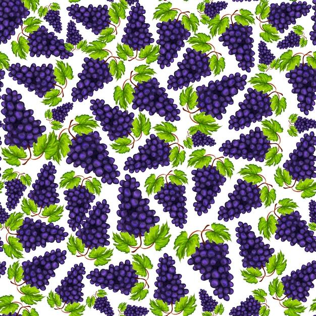 Sem costura natural doce orgânico uvas fruta padrão mão desenhada desenho ilustração em vetor Vetor grátis