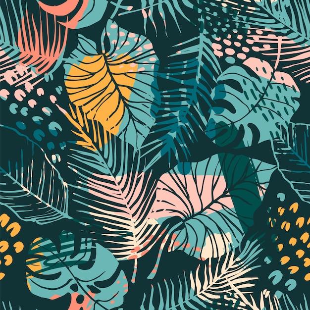 Sem costura padrão abstrato com plantas tropicais Vetor Premium