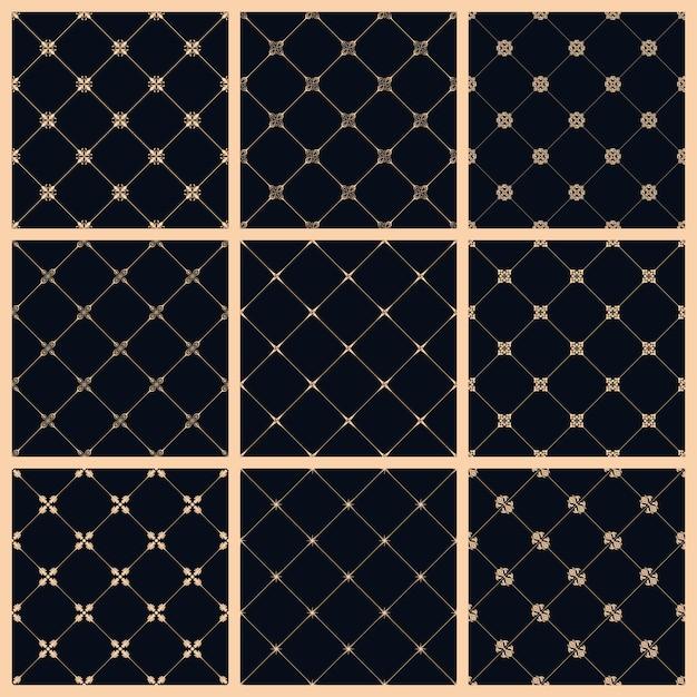 Sem costura padrão definido com ornamento de arte para design Vetor Premium