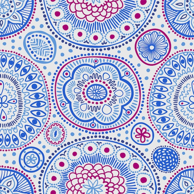 Sem costura padrão étnico com pontos detalhados e círculos em azul. Vetor Premium