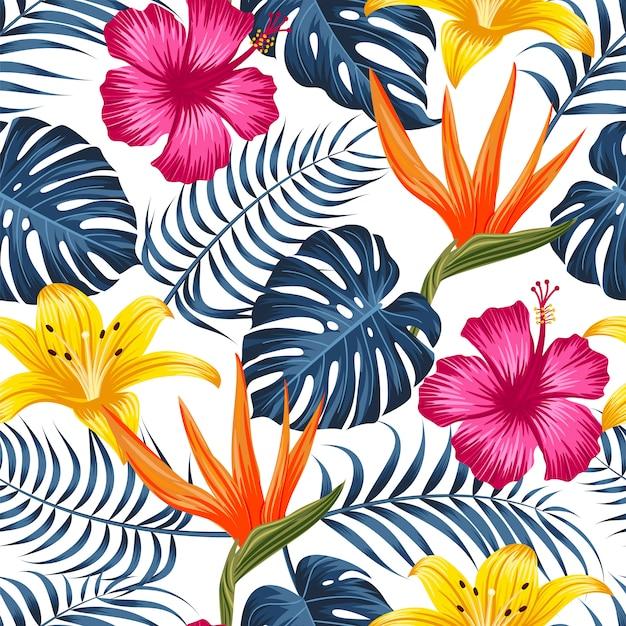 Sem costura padrão floral com folhas tropicais, fundo tropical Vetor Premium