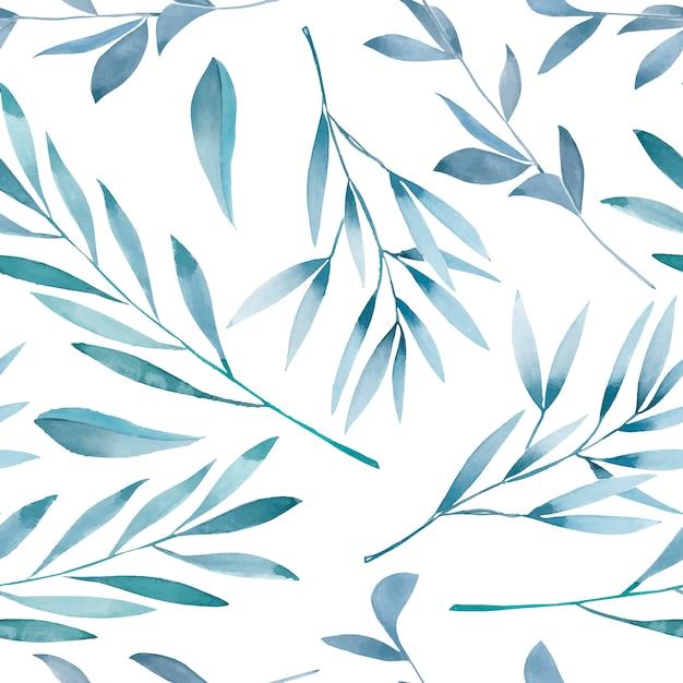 Sem costura padrão floral com ramos azuis em aquarela Vetor Premium
