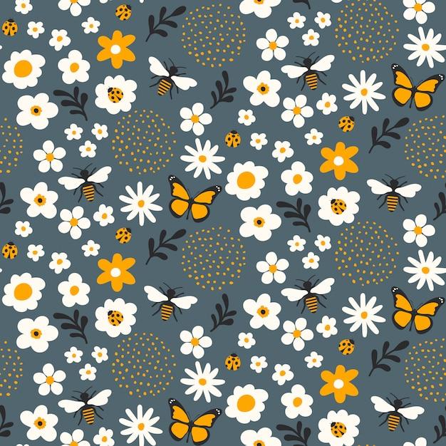 Sem costura padrão floral design com abelhas e insetos Vetor Premium