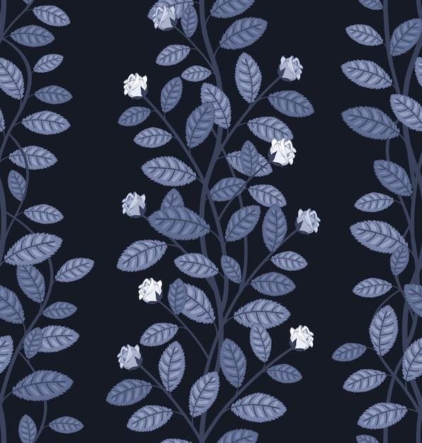 Sem costura padrão floral em ilustração vetorial de fundo azul Vetor grátis