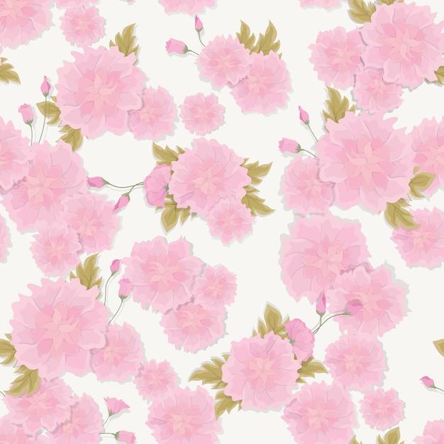 Sem costura padrão floral fresco com flores bougainvillea rosa e trópico folhas Vetor Premium