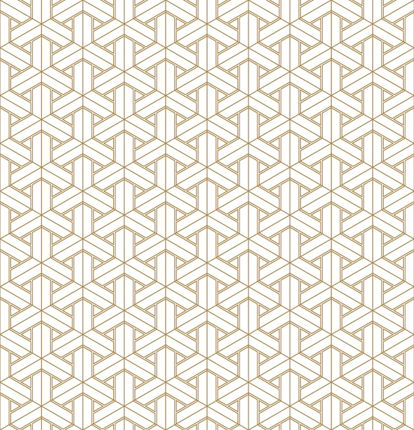 Sem costura padrão geométrico baseado no ornamento japonês kumiko. Vetor Premium