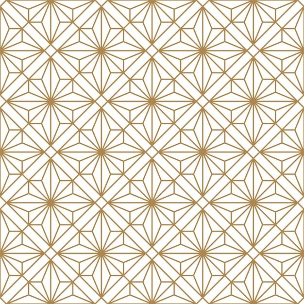 Sem costura padrão geométrico em dourado e branco. estilo japonês kumiko. Vetor Premium
