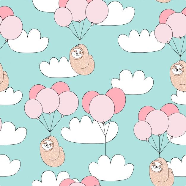 Sem costura padrão infantil com giro preguiça com balões. Vetor Premium