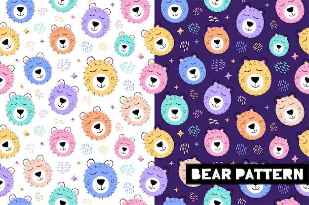 Sem costura padrão infantil com rostos de animais urso engraçado Vetor Premium