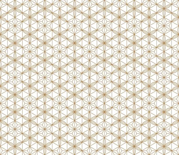 Sem costura padrão japonês shoji kumiko em dourado. Vetor Premium