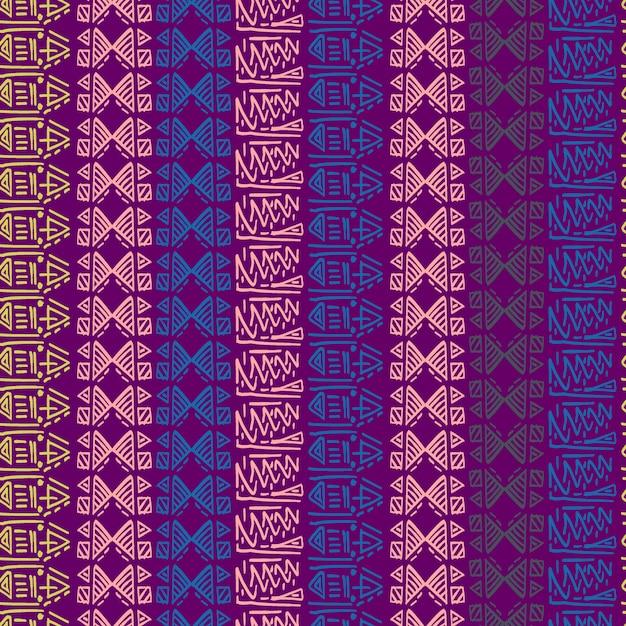 Sem costura padrão listrado com motivos tribais batik fundo colorido Vetor Premium
