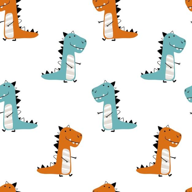 Sem costura padrão minimalista de dinossauros em um fundo branco. ilustração infantil Vetor Premium