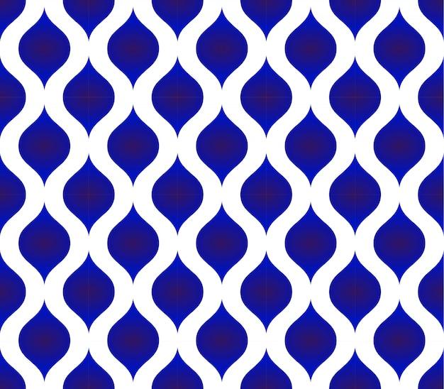 Sem costura padrão tailandês, fundo de forma moderna azul e branca cerâmica Vetor Premium