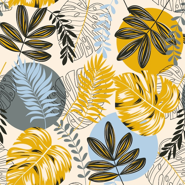 Sem costura padrão tropical com abstração, plantas e folhas Vetor Premium