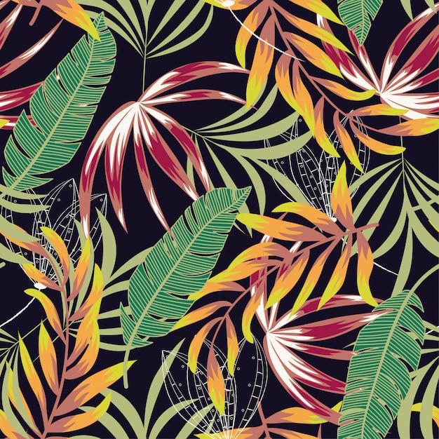 Sem costura padrão tropical com folhas brilhantes, flores e plantas Vetor Premium