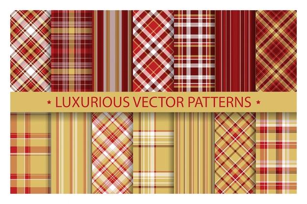 Sem costura padrão xadrez ornamentado. conjunto luxuoso rico ouro e vermelho de fundo vector. coleção de textura de tecido. Vetor Premium