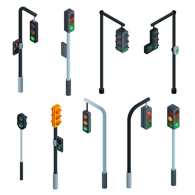 Semáforos definido. isométrico conjunto de semáforos Vetor Premium