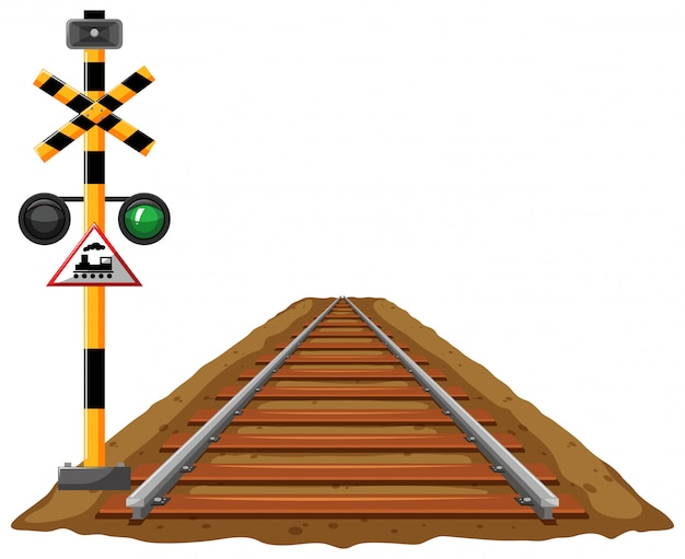 Semáforos para trem e ferrovia Vetor grátis